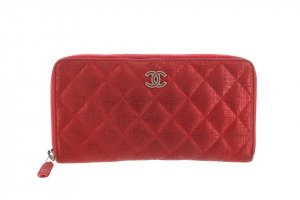 Chanel Metallic Quilted Canvas Zip Wallet