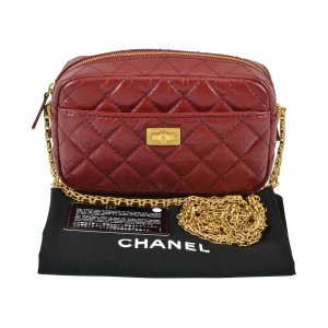 Chanel Borsa a spalla rosso scuro Pelle