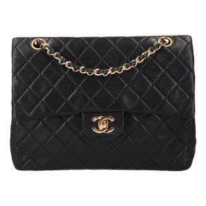 Chanel mittlere Schultertasche aus Lammleder in Schwarz und Gold Handtasche Tasche