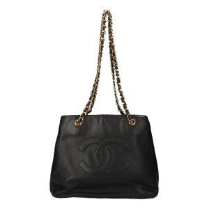 Chanel Handbag gold-colored-black leather