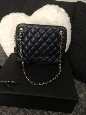 Chanel Sac à main bleu foncé-doré