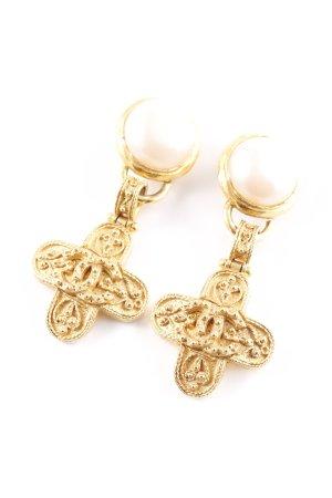 Chanel Clip d'oreille doré-crème élégant