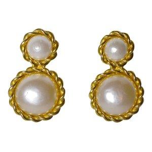 Chanel Ohrclips, Gold und Perlen, Vintage