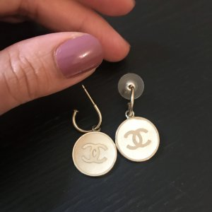 Chanel Pendientes colgante blanco-color plata