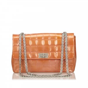 Chanel Orange Patent Chocolate Bar Flap Bag