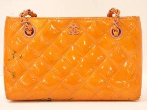 "CHANEL Orange Patent Leather 8.66"" Mini  Hand Bag Plasstic"