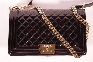 CHANEL Original New Medium Leather Boy Bag with Gold Chain