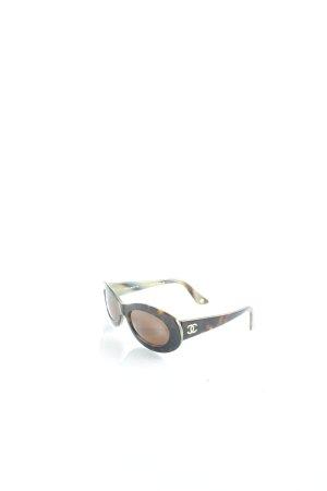 Chanel ovale Sonnenbrille dunkelbraun-braun Retro-Look