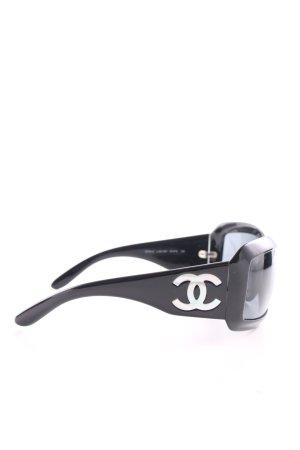 Chanel Occhiale da sole ovale nero-bianco stile professionale