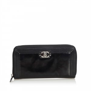Chanel Patent Leather Boy Long Wallet