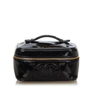 Chanel Trousse à maquillage noir faux cuir