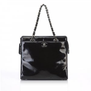 Chanel Patent Leather Chain Tote Bag