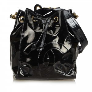 Chanel Patent Leather Drawstring Bucket Bag