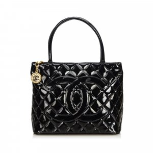 Chanel Patent Leather Medallion Tote Bag