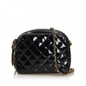 Chanel Patent Leather Quilted Chain Crossbody Bag
