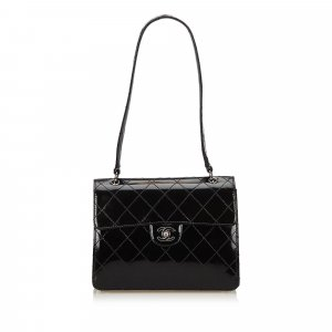 Chanel Shoulder Bag black imitation leather