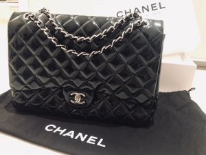 CHANEL Patent Quilted Maxi Single Flap BAG navy blue / black silver TOP - inkl. Staubbeutel & Karton