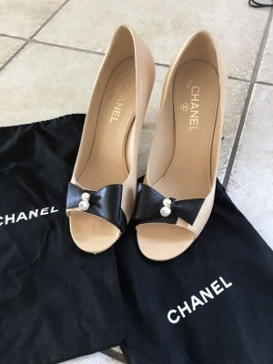 Chanel Peep Toe Pumps cream-black