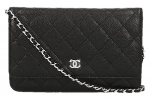 Chanel Crossbody bag black-silver-colored leather