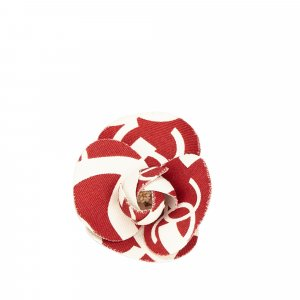 Chanel Printed Cotton Camellia Brooch