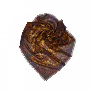 Chanel Bufanda marrón oscuro Seda