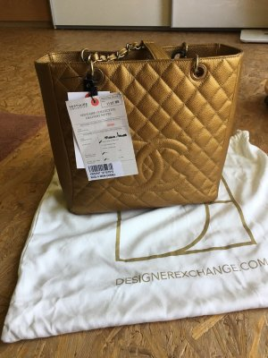 Chanel pst petite shopping total caviar in gold top