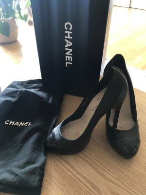Chanel Pumps High Heels schwarz Klassiker 37,5 C inkl. Rechnung, Karton und Staubbeutel