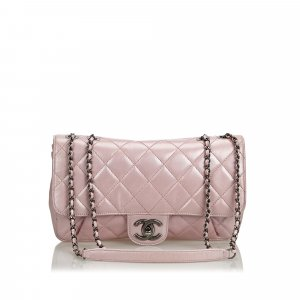 Chanel Quilted Calfskin Pleated Chain Flap Bag
