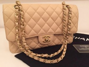 CHANEL QUILTED CAVIAR DOUBLE FLAP MEDIUM BAG LUXUS LEDER HANDTASCHE NUDE / GOLD