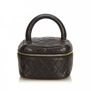 Chanel Quilted Lambskin Leather Handle Vanity Bag