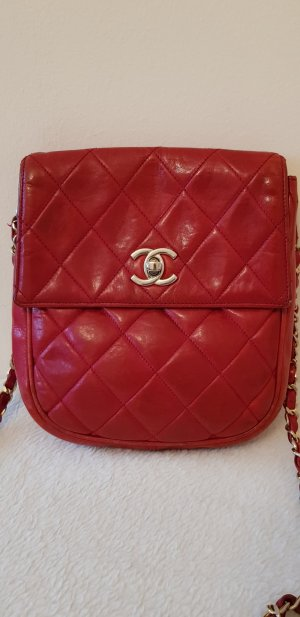 Chanel Red Lambskin Quilted Mini Crossbody