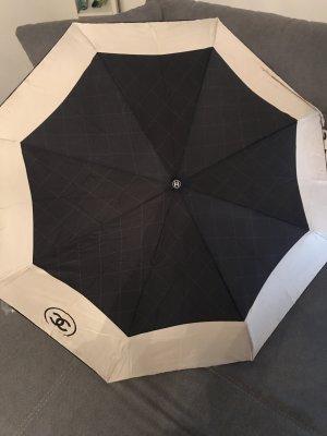 Chanel Regenschirm Schwarz Beige mit Box