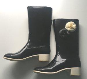 Chanel Wellington laarzen zwart-wolwit