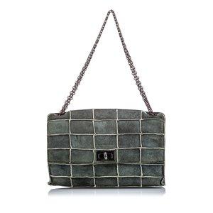 Chanel Shoulder Bag dark grey suede