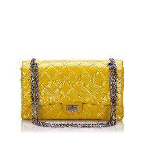 Chanel Shoulder Bag yellow imitation leather