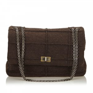 Chanel Shoulder Bag dark grey wool