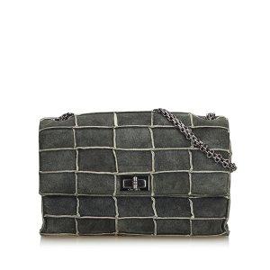 Chanel Bolsa de hombro verde oscuro Gamuza