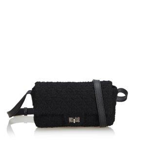 Chanel Sac porté épaule noir laine