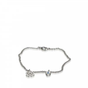 Chanel Rhinestone-Studded CC Heart Pendant Necklace