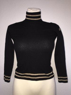 Chanel Jersey de cuello alto negro-color oro