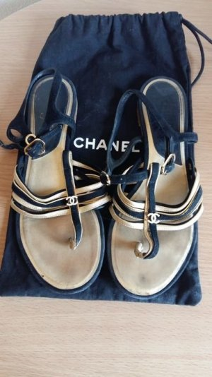 Chanel Toe-Post sandals black-gold-colored leather