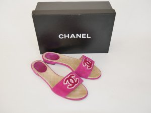 Chanel Comfort Sandals magenta-white suede