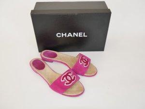 Chanel Sandalen Schlappen Schuhe Flats Logo Wildleder Pink 37,5 BOX