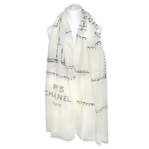 Chanel Bufanda crema-negro