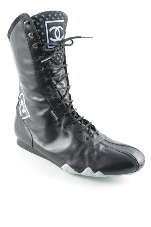 Chanel Lace-up Boots black-baby blue street-fashion look