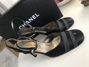 Chanel Strapped pumps black-silver-colored