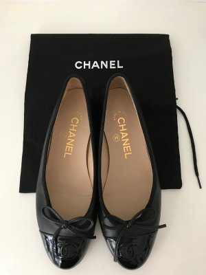 CHANEL Schuhe Ballerinas 35-36 Schwarz Leder Lackleder CC-Logo Ballets Black TOP