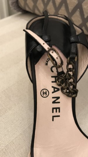 Chanel Strapped Sandals cream-black