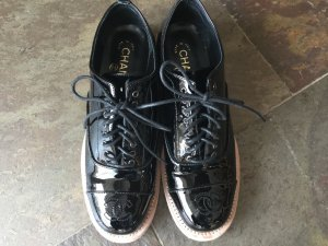 Chanel Lace Shoes black leather