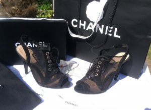 Chanel High Heel Sandal black leather